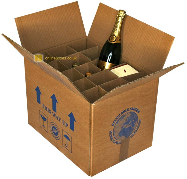 Wine Bottle Boxes Cardboard Packing For Moving Storing Shipping ...